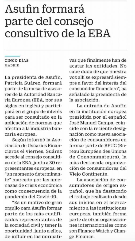 CINCO DÍAS: ASUFIN formará parte del consejo consultivo de la EBA