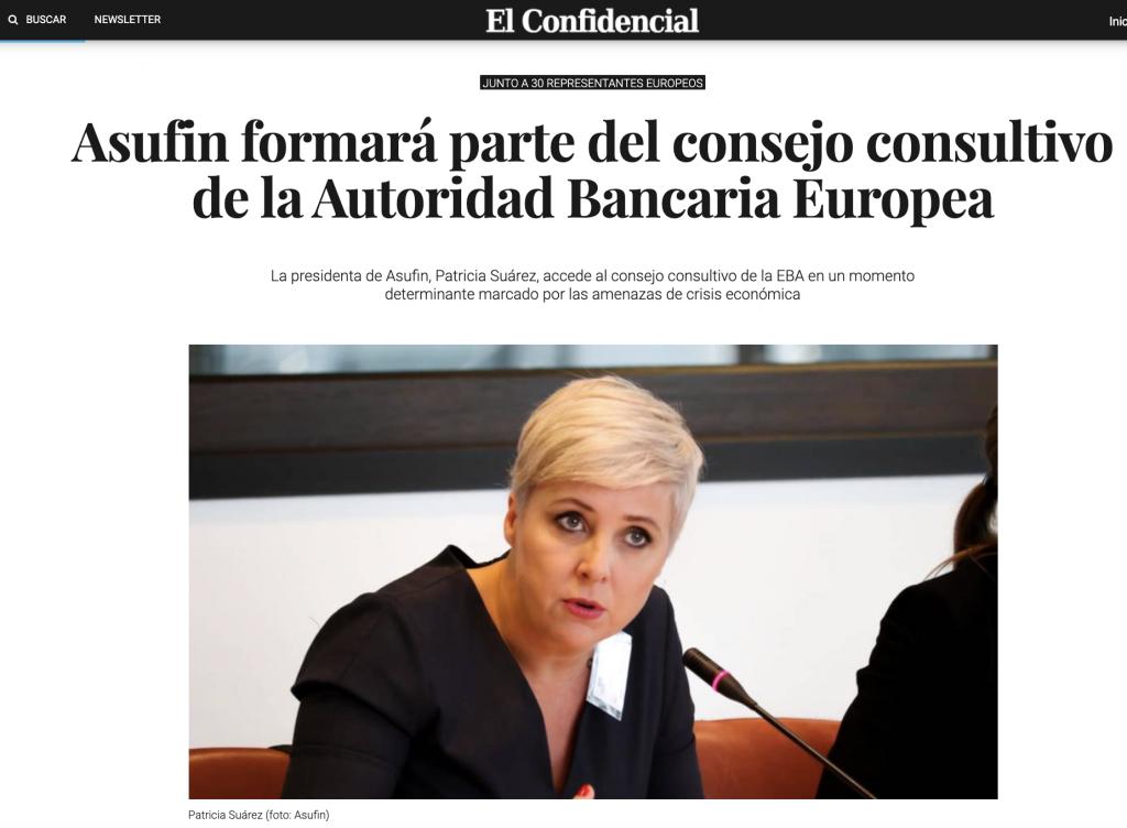 El Confidencial: Asufin formará parte del consejo consultivo de la Autoridad Bancaria Europea