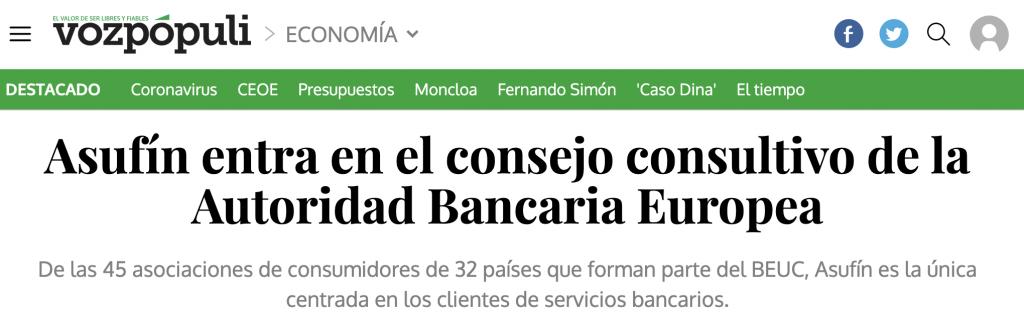 VOZ PÓPULI: Asufín entra en el consejo consultivo de la Autoridad Bancaria Europea