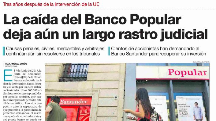 La caída del Banco Popular deja aún un largo rastro judicial