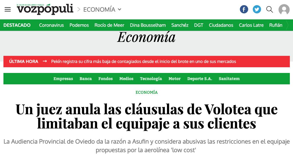 VOLOTEA   Voz Pópuli: Un juez anula las cláusulas de Volotea que limitaban el equipaje a sus clientes