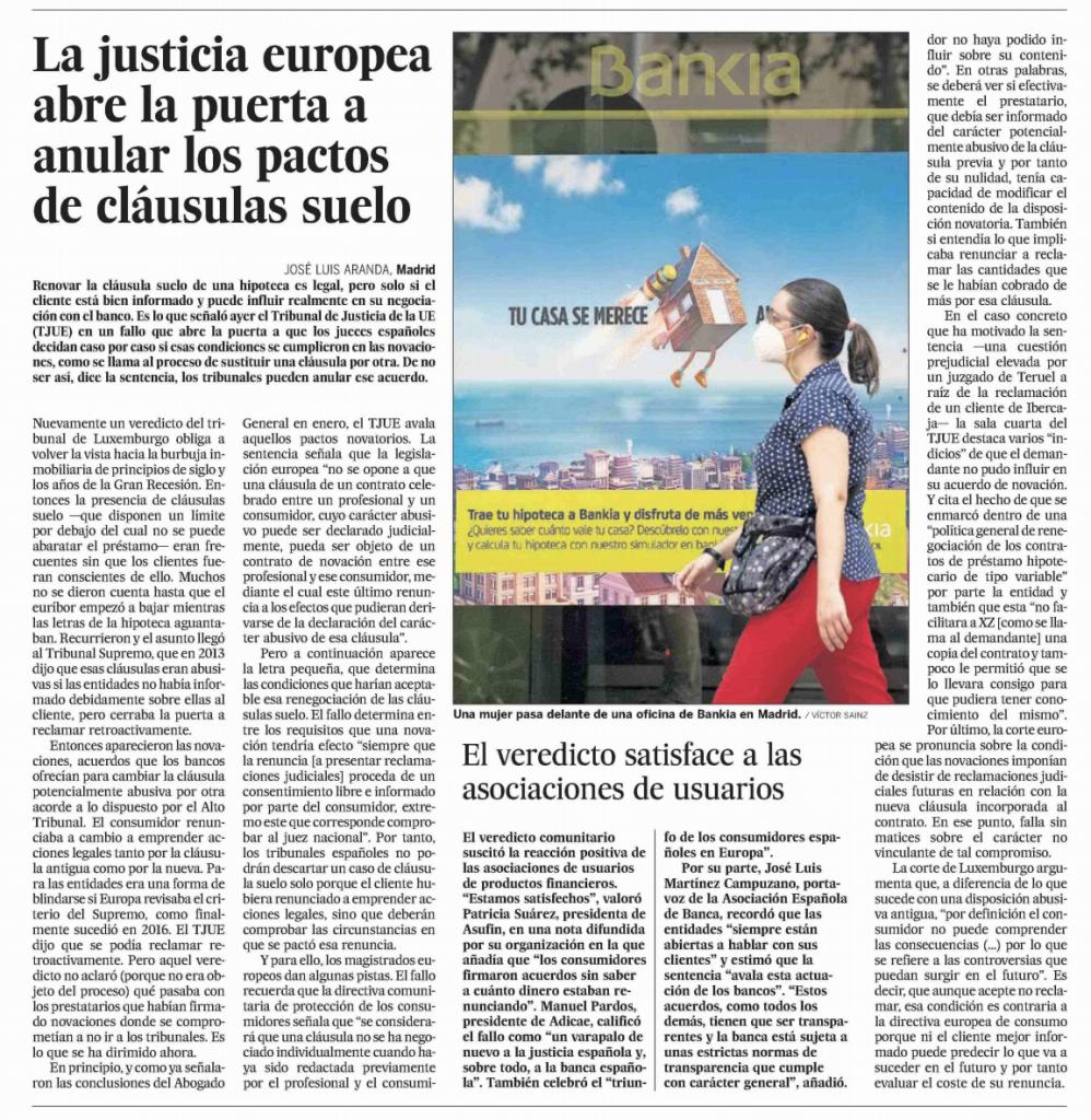 El País: La justicia europea abre la puerta a anular los pactos de cláusulas suelo