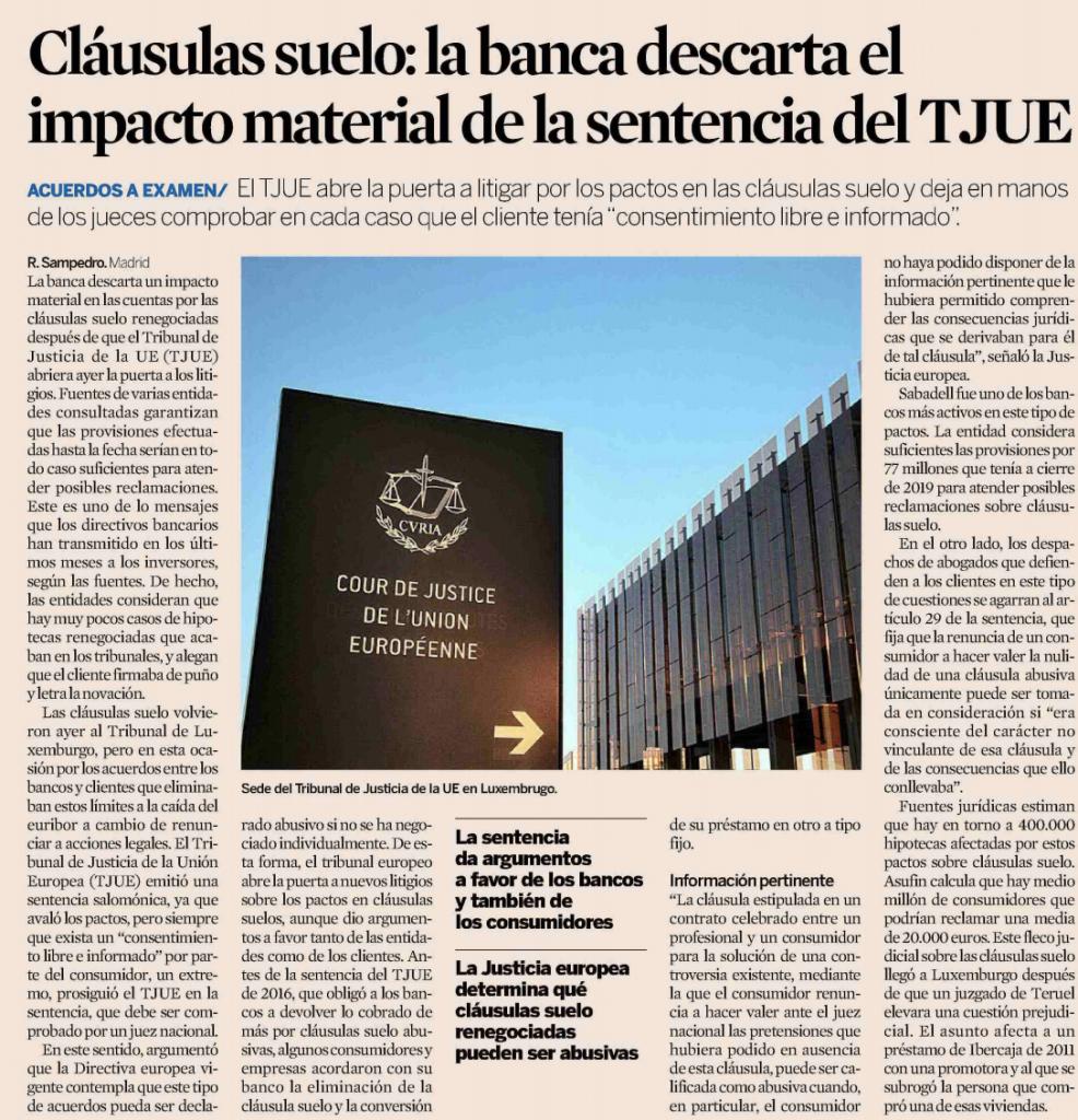 Expansión | Cláusulas suelo: la banca descarta el impacto material de la sentencia del TJUE