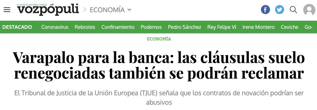 Voz Pópuli: Varapalo para la banca: las cláusulas suelo renegociadas también se podrán reclamar