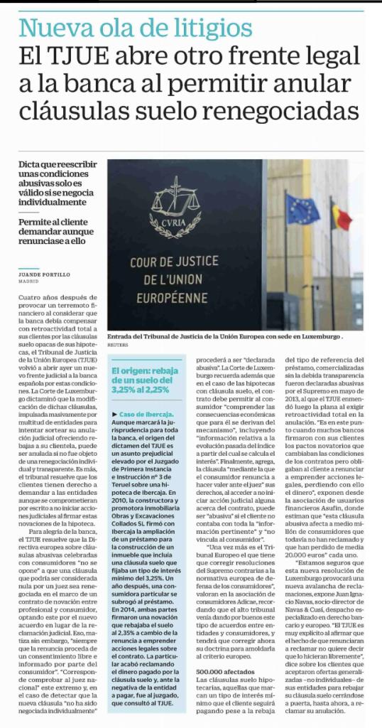 Cinco Días: El TJUE abre otro frente legal a la banca al permitir anular cláusulas suelo renegociadas