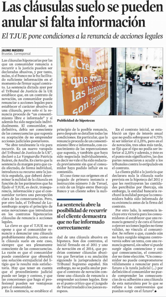 La Vanguardia: Las cláusulas suelo se pueden anular si falta información